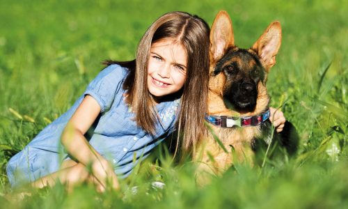 little girl and dog together on the grass